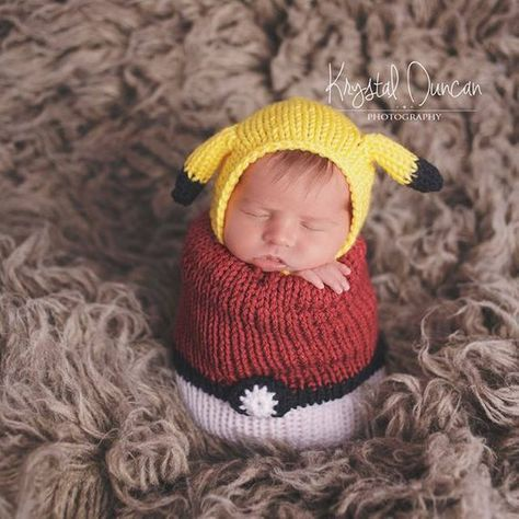 You get a Handmade Knitted Newborn Pikachu Pokemon inspired Bonnet & a Handmade Knitted Pokeball inspired Snuggle Sack Or You can Purchase each item individually! *** Now Offering a Yellow Drawstring or Basic Sack! It will be Solid Yellow in the same color as the pikachu Bonnet. In