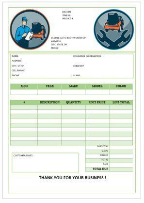 Garage Repair Invoices Template Invoice Template Templates Garage Repair