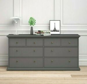 Buy Grey Large Chest Of Drawers Wide 8 Drawer Cabinet Unit Dresser Bedroom Storage Large Chest Of Drawers Bedroom Storage Wide Chest Of Drawers