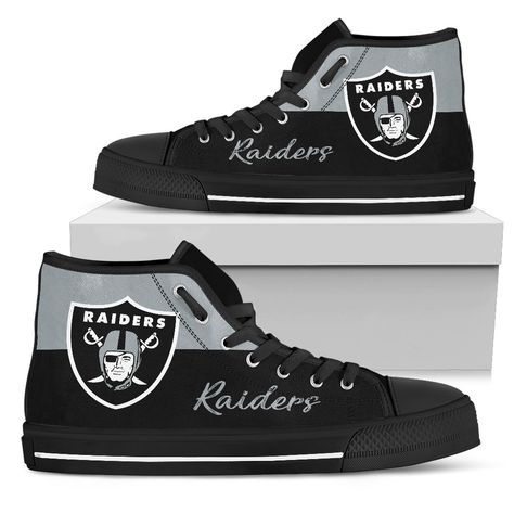 Divided Colours Stunning Logo Oakland Raiders High Top Shoes – Best Funny Store