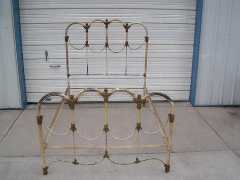 Vintage Old Antique Cast Iron Bed With Fancy Decorative Clusters