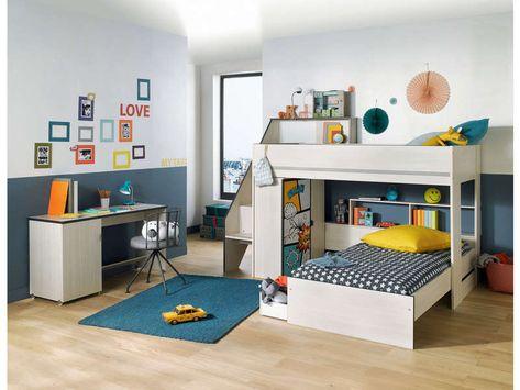 Lits Perpendiculaires 2x90 Cm Gravity Lit Enfant Conforama Dormitorios Literas Dormitorios Ninos
