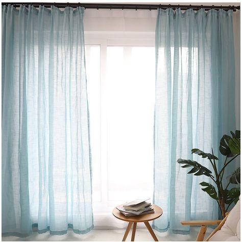 2 Panels Voile Fensterschal Gardinen Vorhang Kräuselband Dekoschal