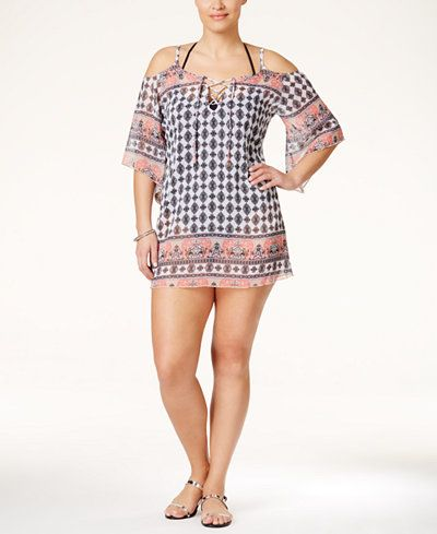 9765d62119049 Becca ETC Plus Size Belly Dancer Printed Cold-Shoulder Cover-Up Tunic