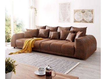 Delife Big Sofa Violetta 310x135 Cm Braun Antik Optik Mit Kissen