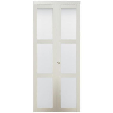 Reliabilt Off White 3 Lite Frosted Glass Bi Fold Closet Interior Door Common 30 In X 80 In A Glass Closet Bifold Closet Doors Sliding Closet Doors