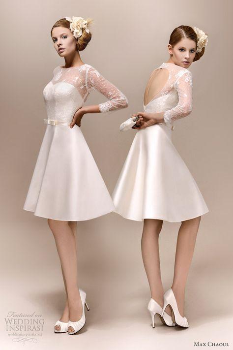 max chaoul bridal 2013 romy 1960 short wedding dress long lace sleeves rehearsal  dress
