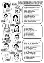 Describing People 2 worksheets | Engels/ English | Pinterest ...