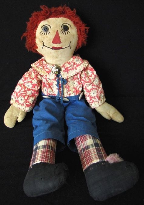 """20"""" VINTAGE CLOTH HANDMADE RAGGEDY ANDY DOLL, AS IS"""