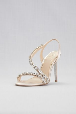 e811352ddbd These elegant satin slingback heels, adorned with rows of sparkling ...