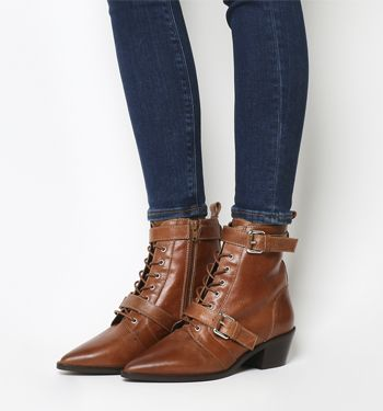 Office Ambassador Lace Up Boots Tan