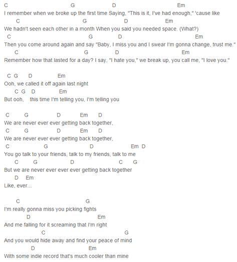 We Are Never Ever Getting Back Together Chords Lyrics - gaurani ...