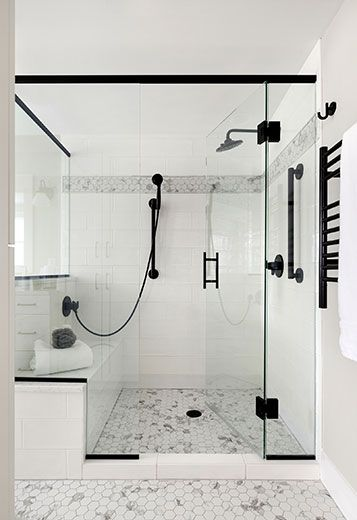 White Walk In Shower With Black Fixtures Master Bathroom Shower Bathroom Remodel Shower Shower Remodel