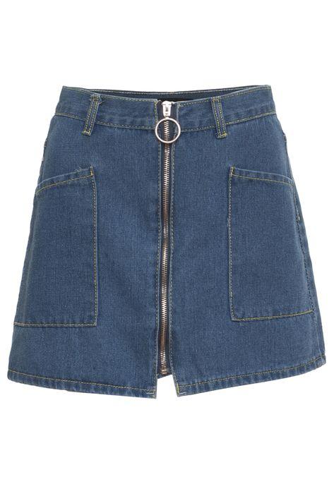 Saia Urban96 Jeans Com Zíper Azul