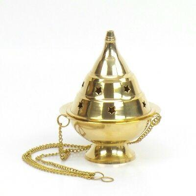 Large Brass Hanging Incense Burner  Censer