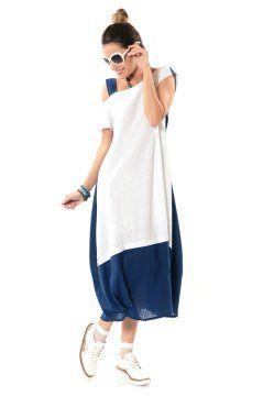 Etnik Berre Keten Iki Renk Elbise Beyaz Mavi Etnik Esintiler Elbise Moda Moda Stilleri