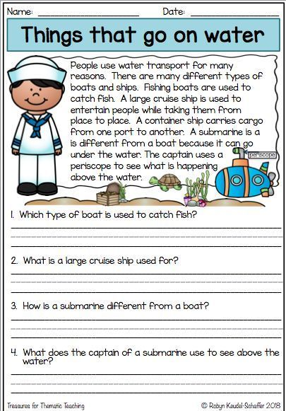 Things That Go Transport Themed Second Grade Worksheets Can Be Reading Comprehension Kindergarten Reading Comprehension Skills Teaching Reading Comprehension 3rd grade theme worksheets