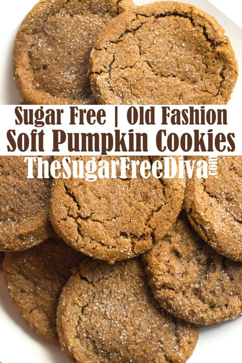 Sugar Free Soft Pumpkin Cookies--These cookies are the best! Sugar Free Cookie Recipes, Sugar Free Baking, Sugar Free Cookies, Sugar Free Desserts, Diabetic Desserts, Low Carb Desserts, Baking Recipes, Dessert Recipes, Pumpkin Recipes Diabetic
