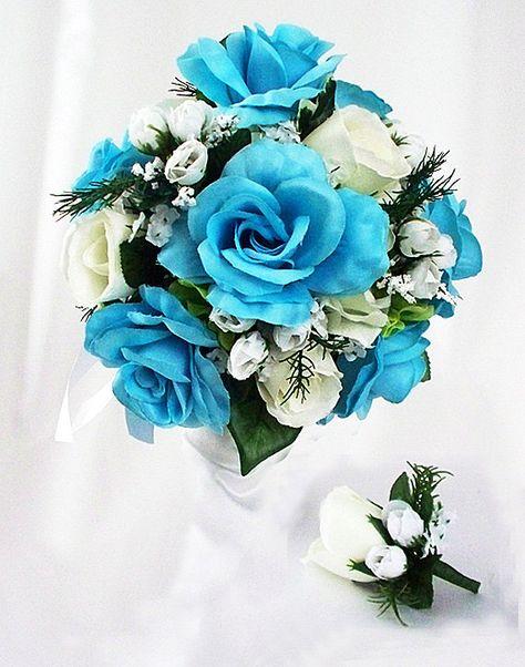 Bouquet Sposa Blu E Bianco.Mazzo Blu E Bianco Insieme Blu Rosa Bouquet Di Artsandcreations