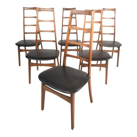 Set Of Six Midcentury Modern Ladder Back Dining Chairs By Niels