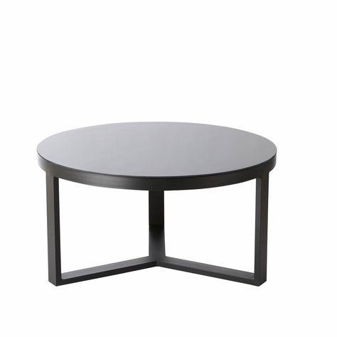 Table basse de jardin ronde en aluminium et verre trempé noir ...