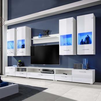 Huberxxl Hochglanz Wohnwand Anbauwand Tv Mobel Weiss Blaue Led