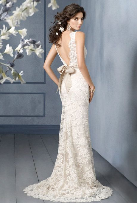 Gorgeous lace Wedding Dress sheath scalloped by DreamNoviasDesigns, $975.00
