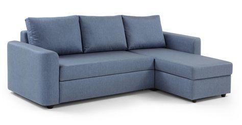 Divano letto angolare destro con contenitore Albie, blu denim | made.com