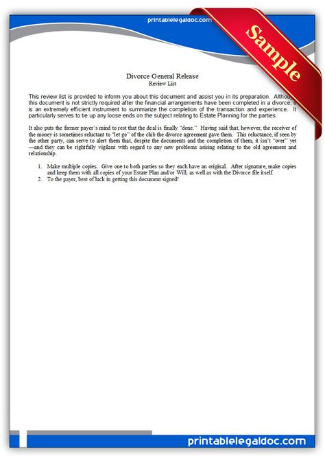 Free Printable Divorce General Release Legal Forms Free Legal - blank divorce decree