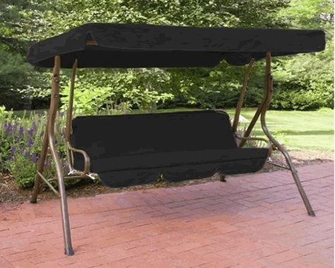 HouseandHomeShopcouk Water Resistant 2 Seater Replacement Canopy Seat Pad ONLY For Swing Garden Hammock In Black