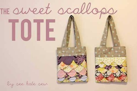 Free Tote Bag Pattern and Tutorial - Sweet Scallops Tote | sewing ...