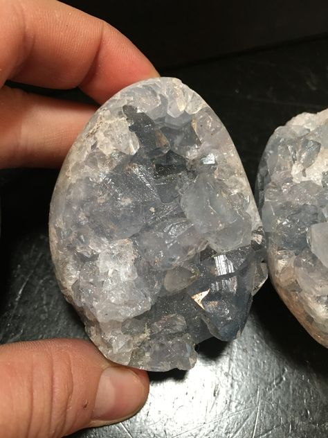 "Celestite Crystal Cluster Egg (Releases Stress • Uplifting • Calming) The listing is for one Celestite Crystal Cluster. Size is about ~2.5"" Metaphysical Properties: Celestite holds a soft, positive en"