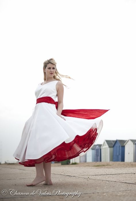red petticoat 50s style wedding dress with red sash