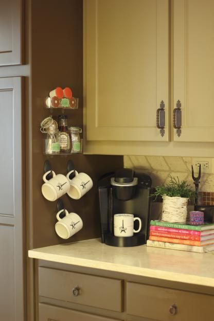 Hanging Coffee Mugs Easily Accesible And Off The Counter Kitchen Pinterest Cup Hooks
