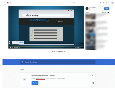 Electrum.org is Being Exploited by Scammers in a YouTube Video Ad Campaign