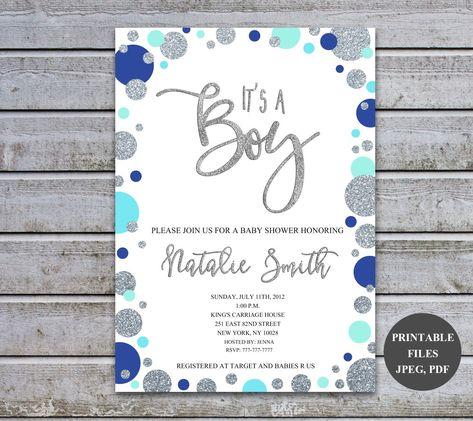 Baby Shower Invitations Boy Baby Shower Invitation Blue Personalised Baby Shower Invites Printable Digital Files (v51) by DownloadPrintable on Etsy