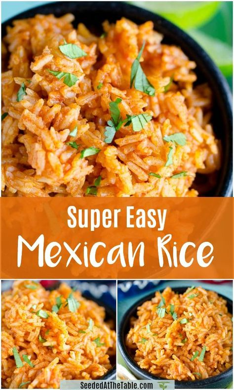 This Mexican Rice recipe is SO easy that you'll want to make it for all of your Mexican dishes! You can serve this Easy Mexican Rice (or Spanish Rice) as a side dish for all your Mexican meals! meals for supper Easy Mexican Rice Mexican Rice Recipes, Easy Rice Recipes, Side Dish Recipes, Easy Dinner Recipes, Mexican Meals, Easy Mexican Rice, Easy Spanish Rice Recipe, Homemade Mexican Rice, Simple Spanish Rice