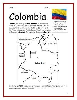 Colombia Printable Handout With Map And Flag Map Activities