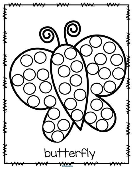 26 Free Printable Dot Marker Templates Of Butterfly Do A Dot Art Coloring Page 2ans Pinterest Dot Marker Activities Dot Worksheets Do A Dot