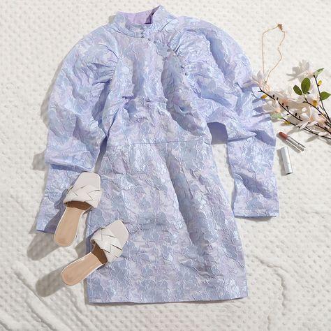 SHEIN Mock Neck Ruched Raglan Sleeve Jacquard Flower Dress