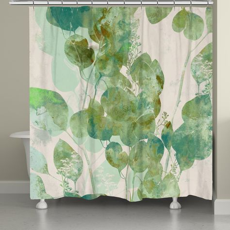 Green Watercolor Eucalyptus Leaves Shower Curtain Laural Home