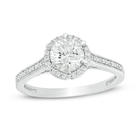 6 0mm Lab Created White Sapphire And 1 10 Ct T W Diamond Frame Engagement Ring In 10k White Gold Engagement Rings White Gold White Sapphire