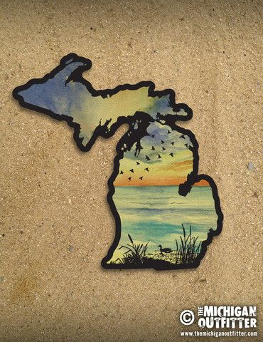 Michigan Sunset Birds Sticker – The Michigan Outfitter