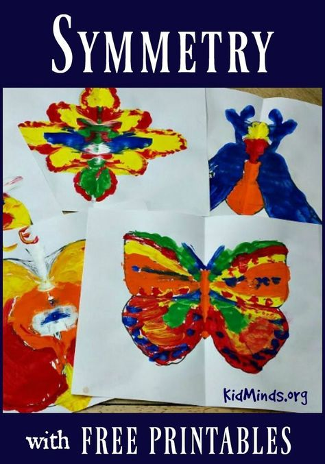 This Symmetry for Little Kids project is easy to set up, kids get a chance to create a simple reflection symmetry and you end up with a pretty piece of art. Includes a wide variety of Free Printables for Inspiration. Kindergarten Art Lessons, Kindergarten Crafts, Art Lessons Elementary, Art Projects For Kindergarteners, Math Crafts, Easy Art Projects, School Art Projects, Kids Craft Projects, Art School