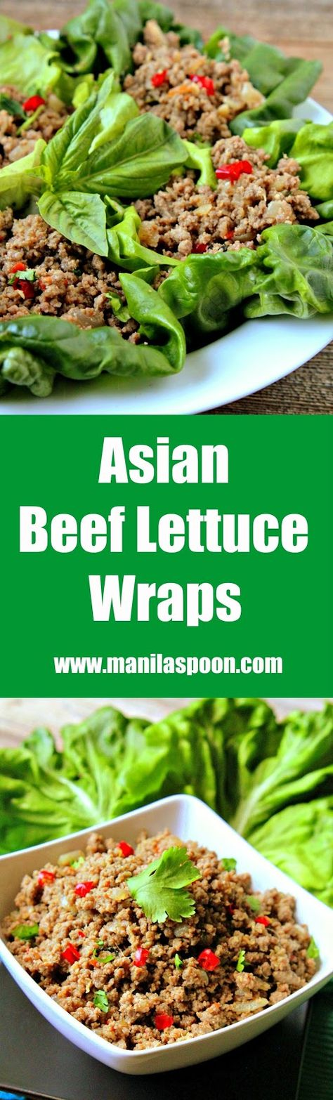 Very tasty, quick and simple to make is this Thai inspired Asian Beef Lettuce Wraps. Perfect as appetizer or as main dish served with Jasmine rice.  Gluten-free and paleo-friendly, too. | manilaspoon.com