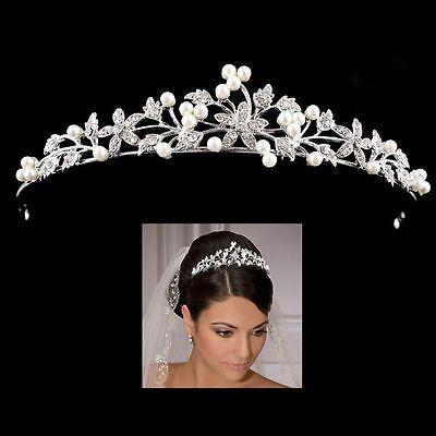 Fashion Women Bridal Rhinestone Crystal Pearl Crown Hair Band Headband Accessory