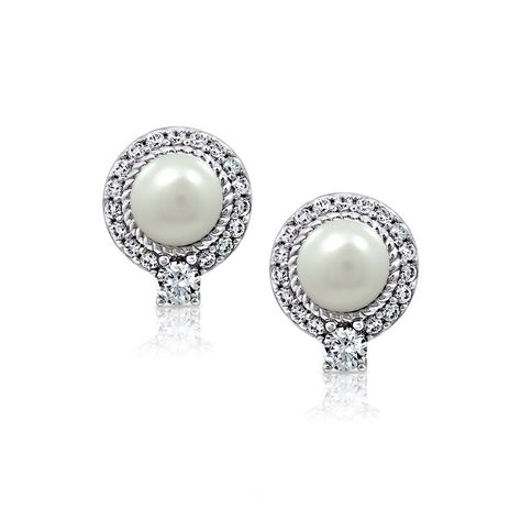 Kiera Couture Carats Round Halo Pearl Stud Earrings
