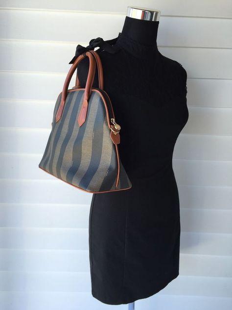 69466589a6 Authentic Fendi Pequin Vintage Hand Bag Purse Tote Made in Italy #Fendi # HandBag