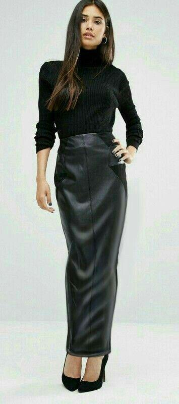Lederlady ❤ | Long leather skirt, Leather skirt, Hobble skirt
