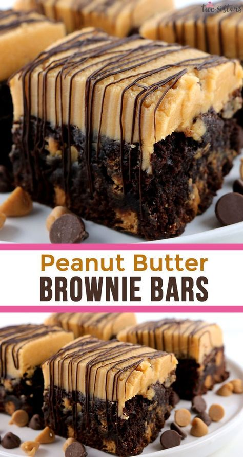 Peanut Butter Brownie Bars - two classic dessert tastes that taste great together. These yummy brownies are delicious and easy to make. Rich chocolate and sweet peanut butter combine to make a delicious treat for Fall, Thanksgiving, Christmas or just a random Monday. Make your family a Homemade Brownie that they are sure to love! Pin this yummy Brownie Recipe now and follow us for more more great dessert ideas. #Brownies #PeanutButter #PeanutButterBrownies #thanksgiving recipe deserts Peanut But